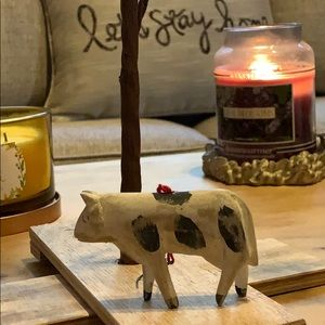 "2"" tall baby cow (?) Christmas tree ornament Vtg"